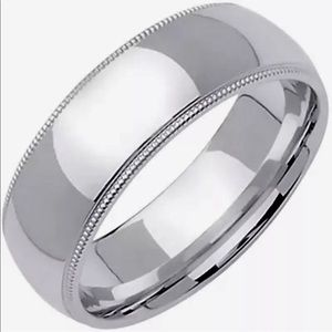 Jewelry - 925 Silver high polished Rhodium plain Ring Band